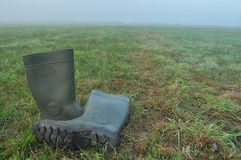 Podeszczowi buty, gumowi buty stoi na mokrej łące mgła Obraz Royalty Free