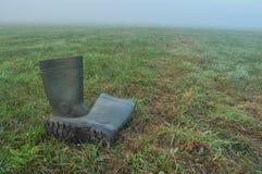 Podeszczowi buty, gumowi buty stoi na mokrej łące mgła Zdjęcie Stock