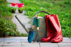 Podeszczowi buty i ogrodowi naczynia zdjęcie royalty free