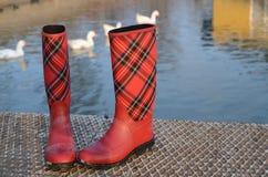 Podeszczowi buty rzeką Obraz Stock
