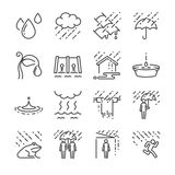 Podeszczowy wektor linii ikony set Zawrzeć ikony jako deszcz, parasol, woda, wody kropla i więcej, Fotografia Royalty Free
