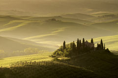 Podeve Belvedere, Val d'Orcia, Tuscany. Stunning view at sunrise of Podere Belvedere, the most famous location in Val d'Orcia, Tuscany. Italian landscape Royalty Free Stock Photos