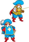 Podge musketeer in two poses. The illustration shows a podge musketeer in two poses. Illustration done in cartoon style, on separate layers Stock Images