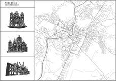 Podgorica miasta mapa z pociągany ręcznie architektur ikonami ilustracja wektor