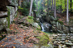 Podgorna vattenfall i Karkonosze berg i Polen Royaltyfria Foton
