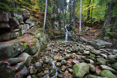 Podgorna Waterfall in Karkonosze Mountains in Poland Stock Photos