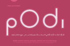 Podi. Round style alphabet letters and numbers. vector, font type design. contemporary, regular lettering. geometric, decorative typesetting. modern typeface Stock Images