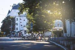 Podil, Κίεβο - η οδός το πρωί Στοκ Φωτογραφίες