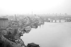 Podil. De Haven van de rivier. De Rivier van Dnieper Stock Afbeelding