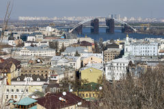 Podil district cityscape in Kiev, Ukraine Royalty Free Stock Images