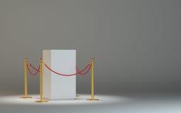 Podio bianco vuoto del museo con nastro adesivo della barriera illustrazione di stock