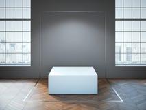 Podio blanco en el piso de madera representación 3d Imágenes de archivo libres de regalías