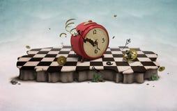 Podio con il vecchio orologio rotto royalty illustrazione gratis
