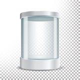 Podio de cristal transparente del escaparate del museo Mofa encima de la caja de la cápsula, objeto en el cilindro de la forma pa Imagenes de archivo