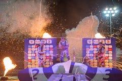 Podio de la raza Celebraciones de jinetes De la izquierda - Joonas Kylmaekorpi, Grigorij Laguta, Emil Saifutdinov Fotos de archivo