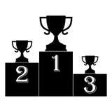 Podio de los ganadores de la taza de campeón - ejemplo Foto de archivo libre de regalías
