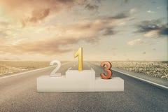 Podio de los ganadores en la carretera de asfalto con luz del sol representación 3d stock de ilustración