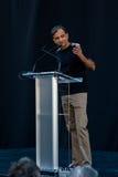 Podio de Vivek Ranadive en el 1 centro de oro Fotos de archivo
