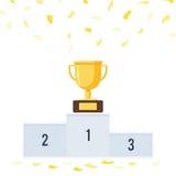 Podio dei vincitori con le tazze royalty illustrazione gratis
