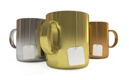 Podio delle tazze con i contrassegni del tè, isolato Fotografia Stock Libera da Diritti