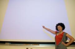 Podio di discorso dell'allievo dell'afroamericano Fotografia Stock Libera da Diritti