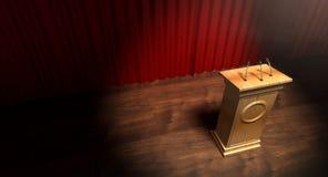 Podio di legno sulla fase di Curtained Fotografia Stock