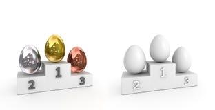 Podio di vittoria - uova di metallo e di bianco Immagine Stock Libera da Diritti