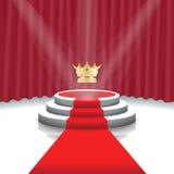 Podio illuminato della fase con il fondo della corona, del tappeto rosso e della tenda per cerimonia di premiazione, illustrazion Immagine Stock