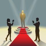 Podio illuminato della fase con l'uomo d'affari ed il tappeto rosso, illustrazione di vettore Immagine Stock