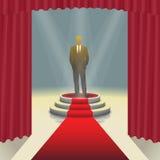 Podio illuminato della fase con l'uomo d'affari ed il tappeto rosso, illustrazione di vettore Immagini Stock Libere da Diritti