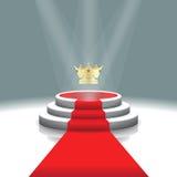 Podio illuminato della fase con la corona ed il tappeto rosso per cerimonia di premiazione, illustrazione di vettore Fotografia Stock
