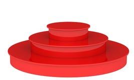 Podio rosso in bianco 3D rendono su un fondo bianco Fotografia Stock