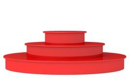 Podio rosso in bianco 3D rendono su un fondo bianco Fotografia Stock Libera da Diritti