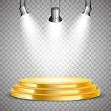 Podio rotondo dell'oro con i riflettori Fotografia Stock
