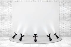 Podio vacío blanco con los proyectores de la etapa representación 3d Foto de archivo libre de regalías