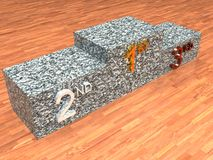 Podium. A 3d illustration of a marble podium on a wood floor Royalty Free Stock Images