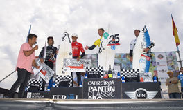 Podium of the 25th edition of Pantin Classic 2012. VALDOVINHO, SPAIN - SEPTEMBER 16: Podium of the 25th edition of Cabreiroa Pantin Classic Pro in the men. on Royalty Free Stock Photography