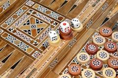 Podium abstrait avec d'abord, deuxième, troisième endroit Boa de backgammon Image stock