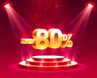 Podium action with percentage. Podium action with share discount percentage 80. Vector illustration vector illustration