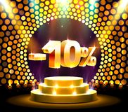 Podium action with share discount percentage 10, sale off. Vector illustration stock illustration