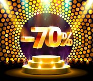 Podium action with share discount percentage 70, sale off. Vector illustration stock illustration