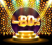 Podium action with share discount percentage 80, sale off. Vector illustration royalty free illustration