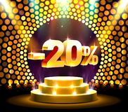 Podium action with share discount percentage 20, sale off. Vector illustration vector illustration