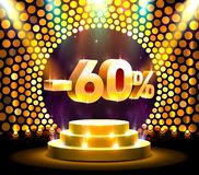 Podium action with share discount percentage 60, sale off. Vector illustration royalty free illustration