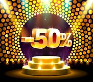 Podium action with share discount percentage 50, sale off. Vector illustration royalty free illustration