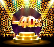 Podium action with share discount percentage 40, sale off. Vector illustration royalty free illustration