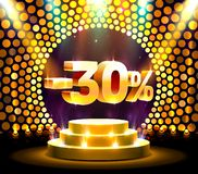 Podium action with share discount percentage 30, sale off. Vector illustration stock illustration