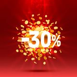 Podium action with share discount percentage 30. Vector. Illustration royalty free illustration