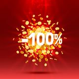 Podium action with share discount percentage 100. Vector. Illustration royalty free illustration