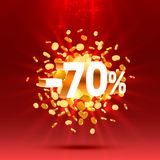 Podium action with share discount percentage 70. Vector. Illustration royalty free illustration